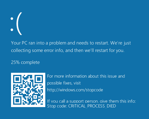 Real Blue Screen in Windows 10